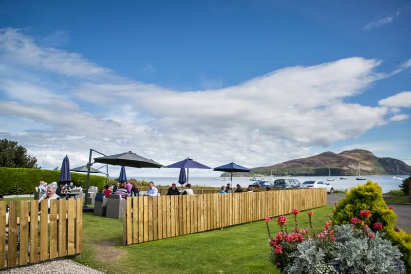 Beer Garden looking onto Holy Isle